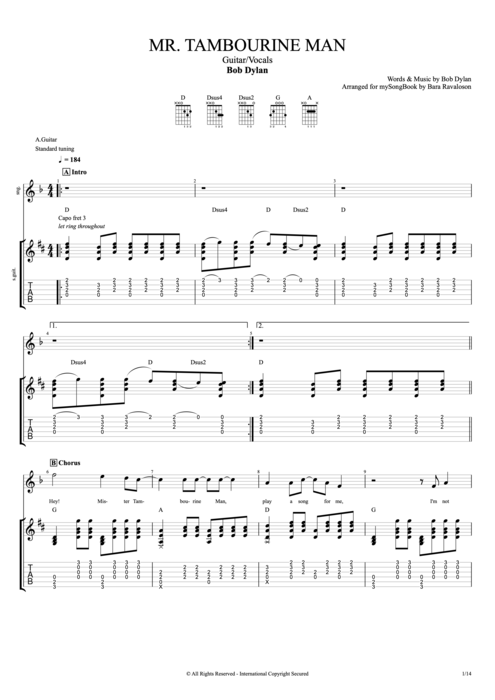 Attractive Mr Tambourine Man Guitar Chords Motif - Beginner Guitar ...