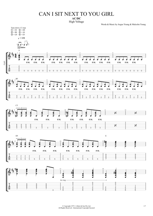 Can I Sit Next to You Girl - AC/DC tablature