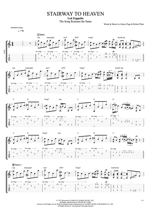 Stairway to Heaven - Live - Led Zeppelin tablature