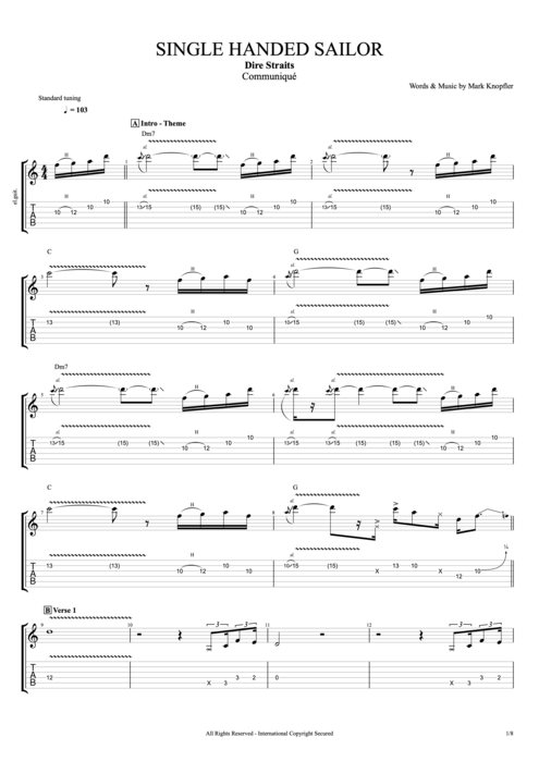 Single-Handed Sailor - Dire Straits tablature