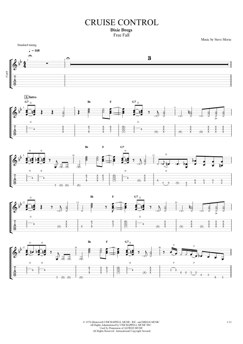 Cruise Control By Dixie Dregs Full Score Guitar Pro Tab