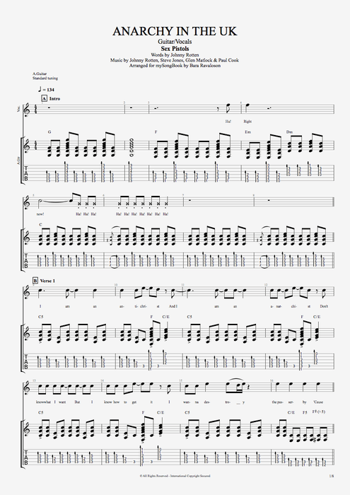 Anarchy in the U.K. - Sex Pistols tablature
