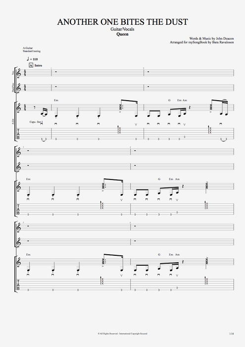 Another One Bites the Dust - Queen tablature