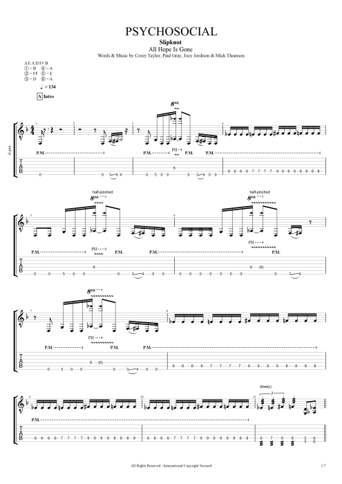 Psychosocial - Slipknot tablature