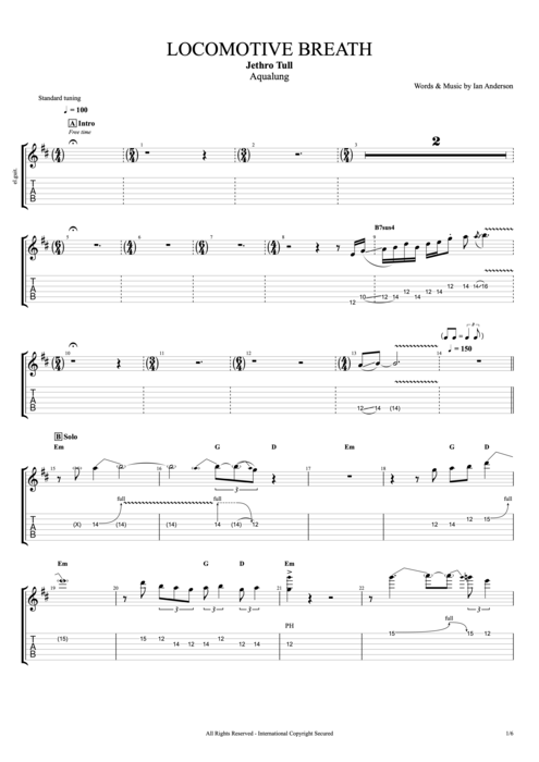 Locomotive Breath - Jethro Tull tablature