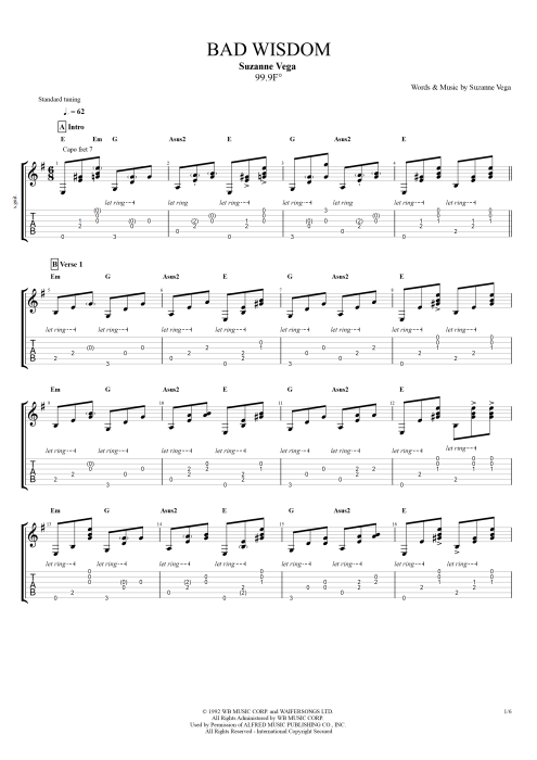 Bad Wisdom - Suzanne Vega tablature