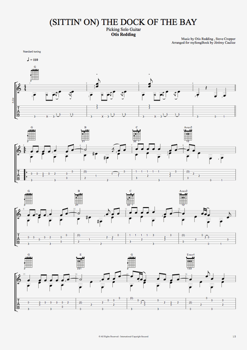 (Sittin' On) The Dock of the Bay - Otis Redding tablature