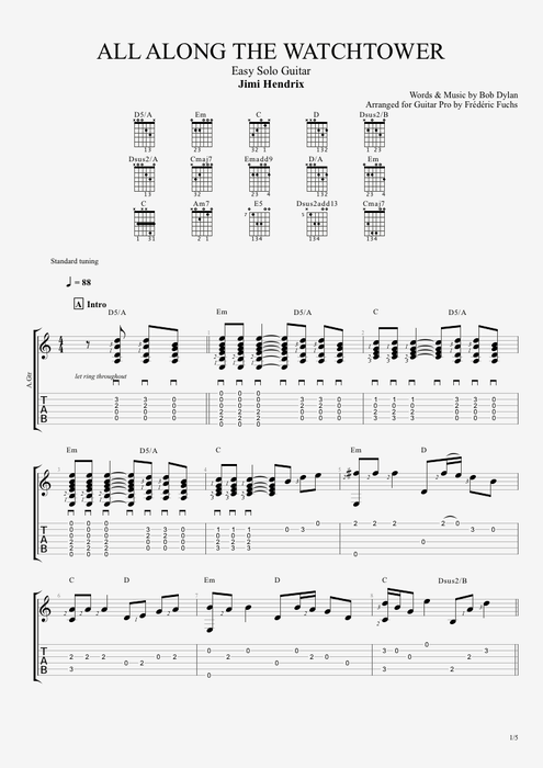 All Along the Watchtower - Jimi Hendrix tablature