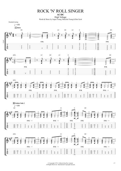 Guitar ac dc guitar tabs : Rock 'n' Roll Singer by AC/DC - Full Score Guitar Pro Tab ...