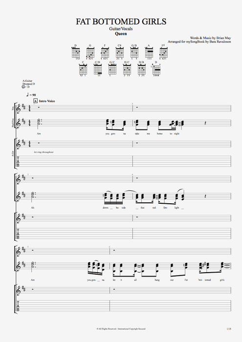 Fat Bottomed Girls - Queen tablature