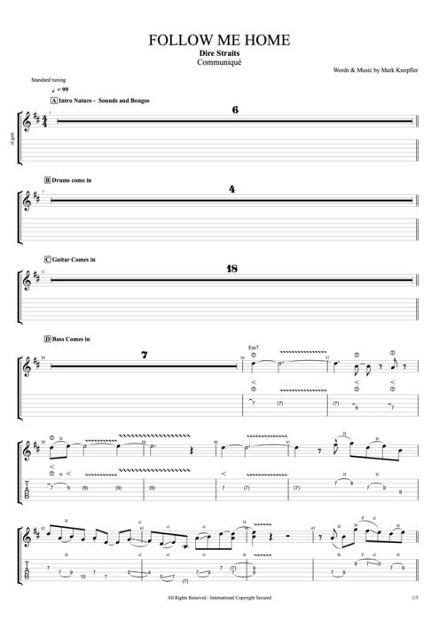 Follow Me Home - Dire Straits tablature