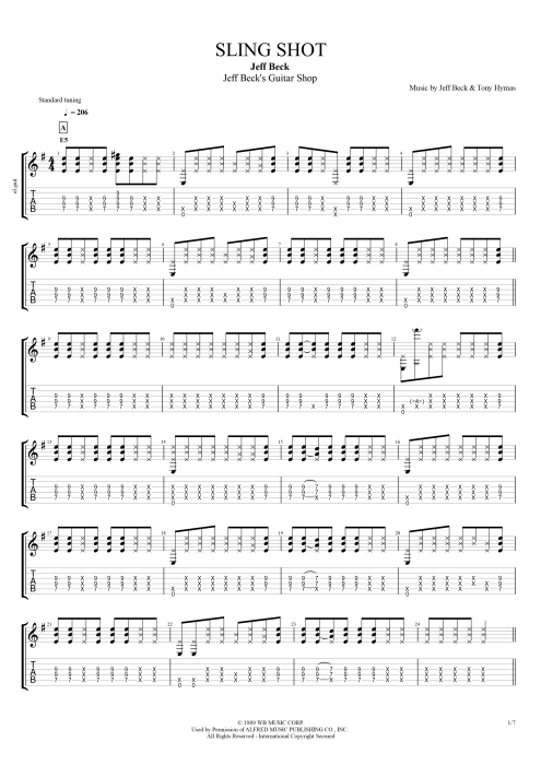 Sling Shot - Jeff Beck tablature