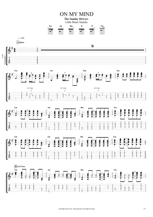 On My Mind - The Sunday Drivers tablature