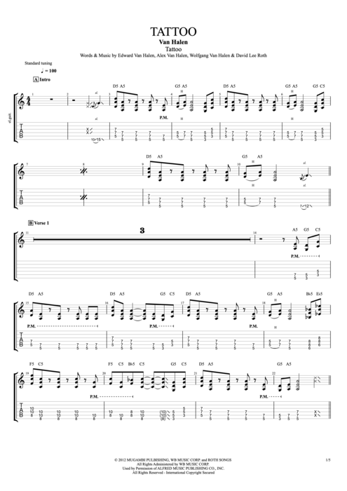 Tattoo - Van Halen tablature