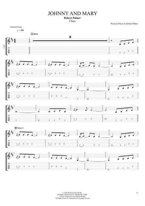Johnny and Mary - Robert Palmer tablature