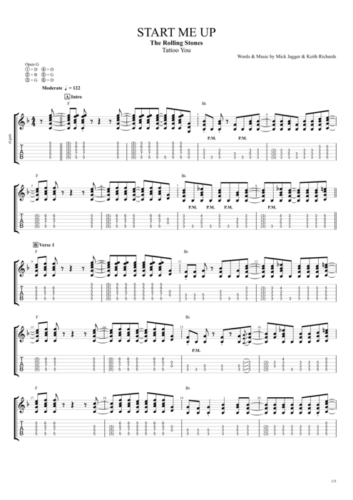 Start Me Up - The Rolling Stones tablature