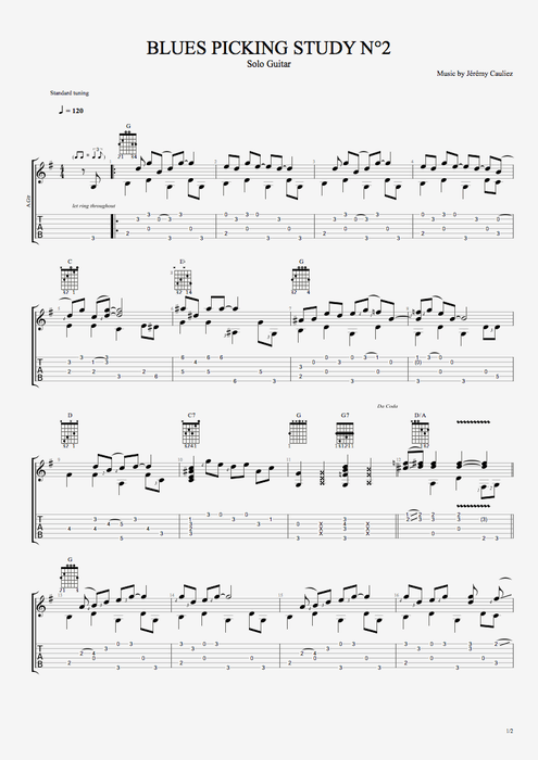 Blues Picking Study 2 - Style Series - Picking tablature