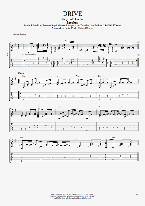 Guitar kryptonite guitar tabs : Drive by Incubus - Easy Solo Guitar Guitar Pro Tab | mySongBook.com