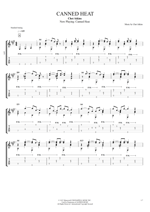 Canned Heat - Chet Atkins tablature
