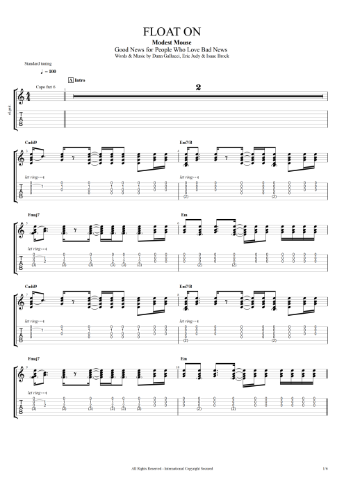 Float On - Modest Mouse tablature