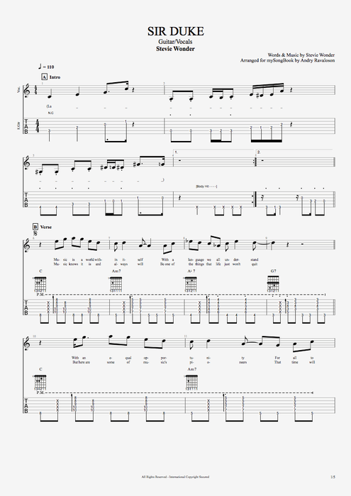 Sir Duke - Stevie Wonder tablature