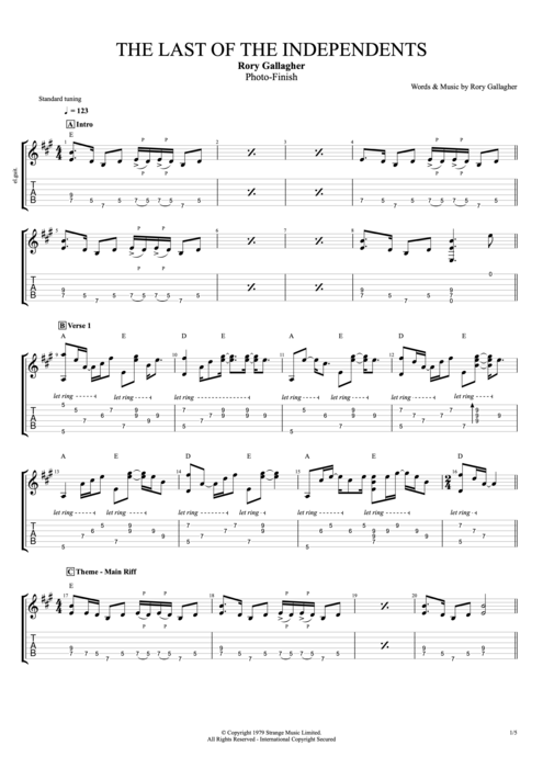 The Last of the Independents - Rory Gallagher tablature
