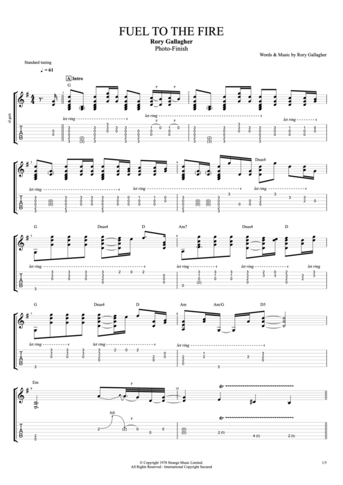 Fuel to the Fire - Rory Gallagher tablature