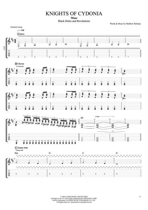 Knights of Cydonia - Muse tablature