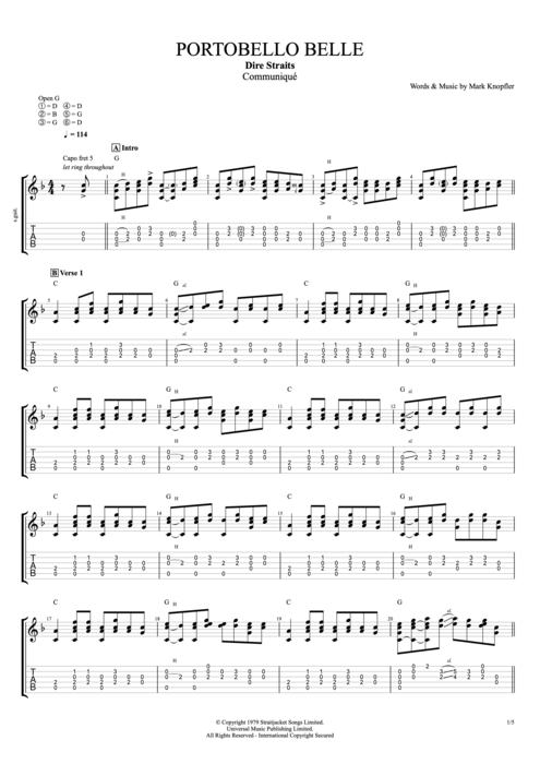 Portobello Belle - Dire Straits tablature