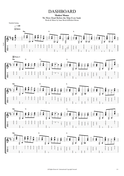Dashboard - Modest Mouse tablature