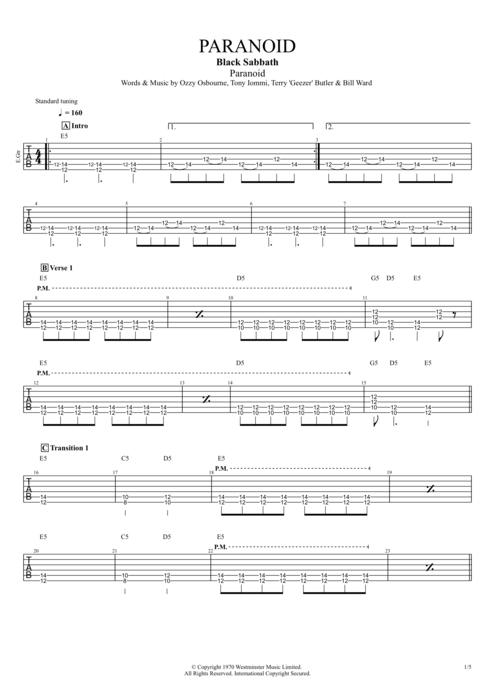 Paranoid - Black Sabbath tablature