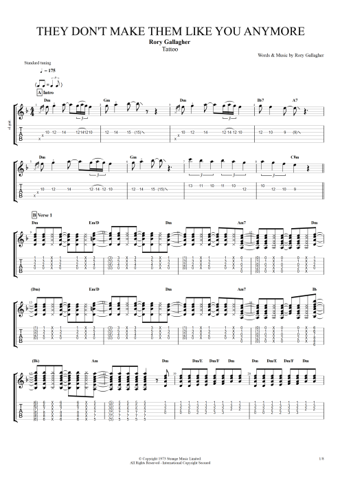 They Don't Make Them Like You Anymore - Rory Gallagher tablature