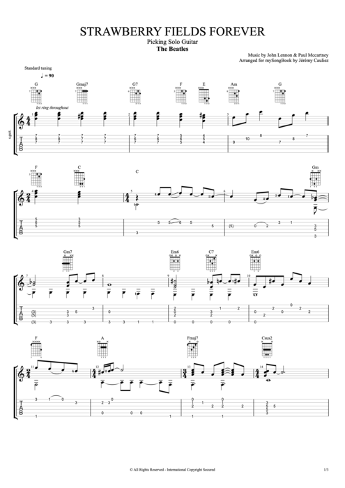 Strawberry Fields Forever - The Beatles tablature