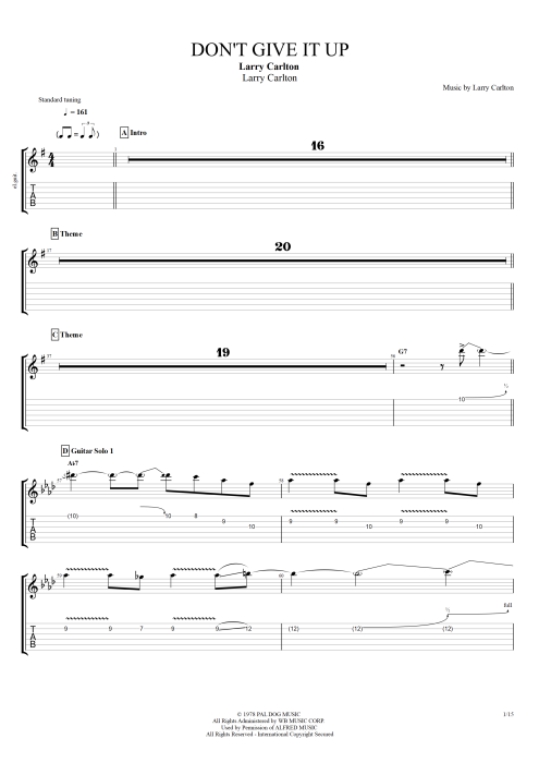 Don't Give It Up - Larry Carlton tablature