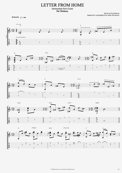 Letter from Home - Pat Metheny tablature