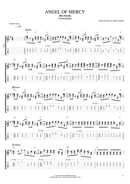 Angel of Mercy - Dire Straits tablature