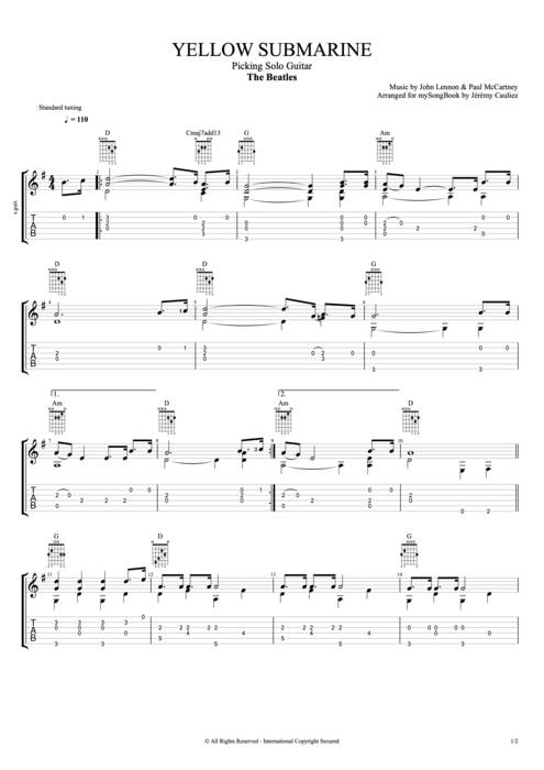 Guitar yellow guitar tabs : Yellow Submarine by The Beatles - Picking Solo Guitar Guitar Pro ...