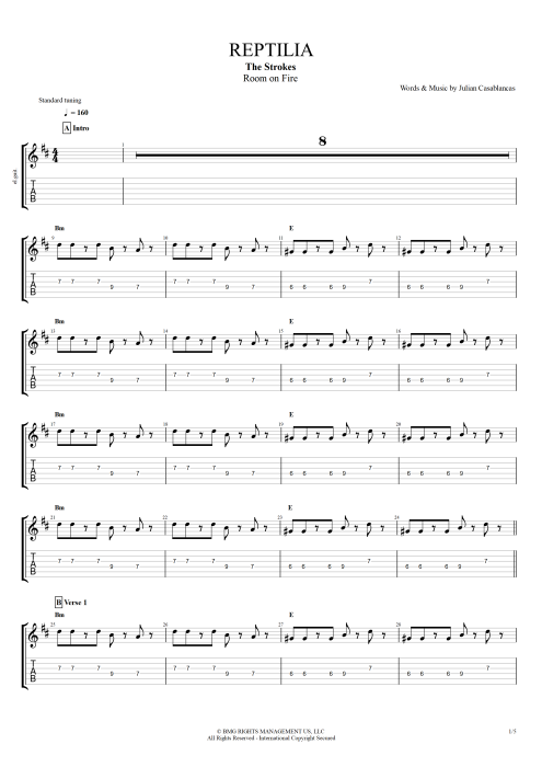 Reptilia - The Strokes tablature