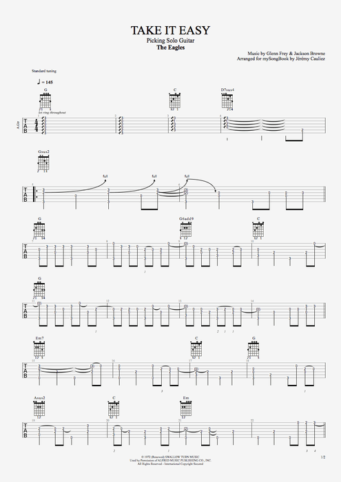 Take It Easy - The Eagles tablature