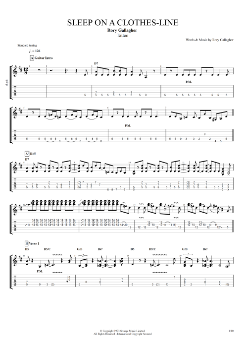 Sleep on a Clothes Line - Rory Gallagher tablature
