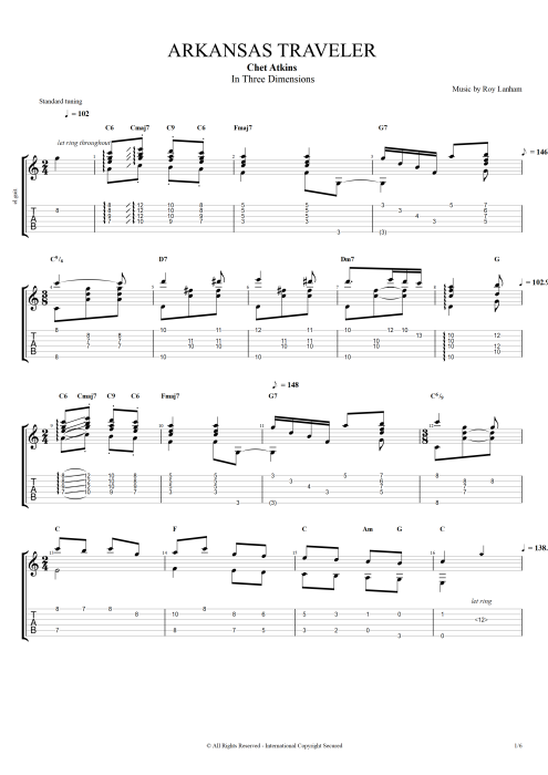 Arkansas Traveler - Chet Atkins tablature