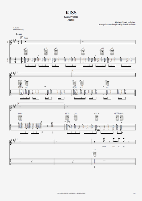 Kiss - Prince tablature