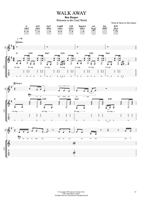 Walk Away - Ben Harper tablature