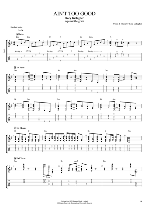 Ain't Too Good - Rory Gallagher tablature