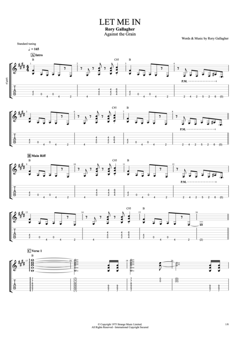 Let Me In - Rory Gallagher tablature