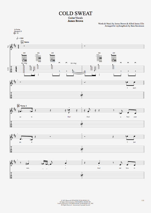 Cold Sweat - James Brown tablature