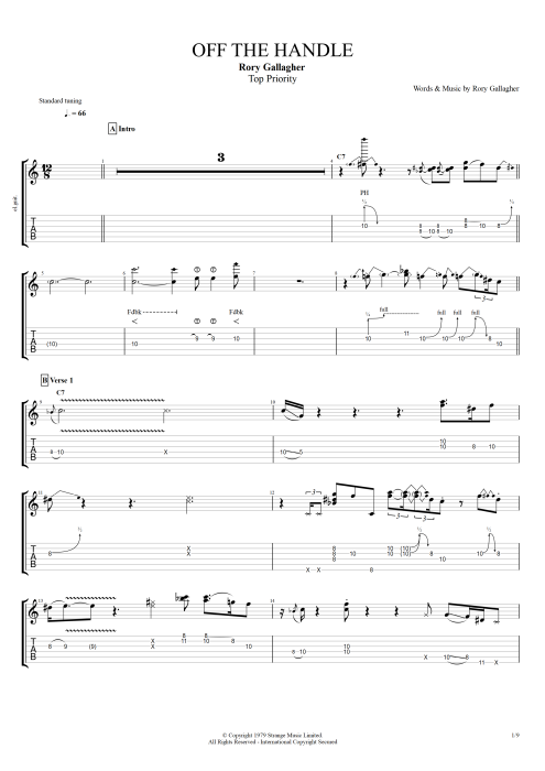 Off the Handle - Rory Gallagher tablature