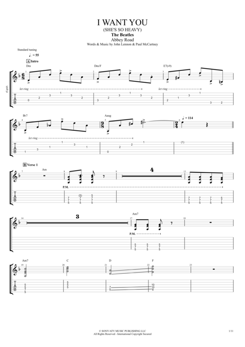 I Want You (She's So Heavy) - The Beatles tablature