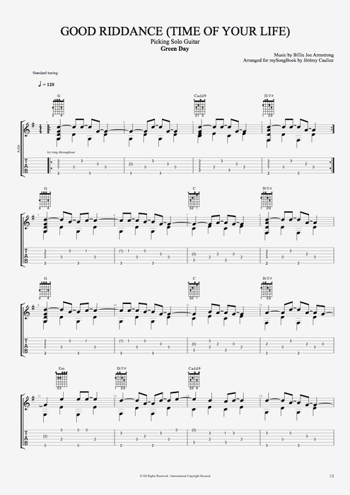 Good Riddance (Time of Your Life) - Green Day tablature