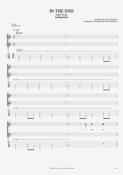 In the End - Linkin Park tablature
